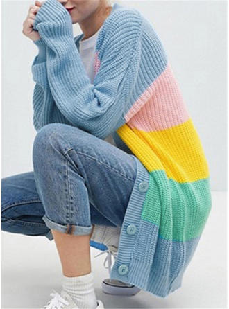 Knitting Long Sleeves Color Block Wide-Waisted Coats