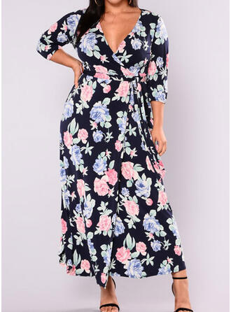 Print/Floral 3/4 Sleeves A-line Casual/Plus Size Maxi Dresses