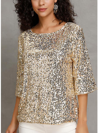 Sequins Round Neck 3/4 Sleeves Casual Blouses