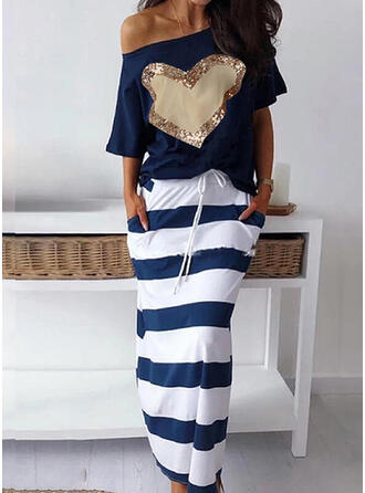 Print/Sequins/Striped 1/2 Sleeves Sheath Casual Midi Dresses