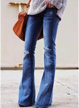 Übergröße Zerrissen Lange Sexy Einfarbig Denim Jeans