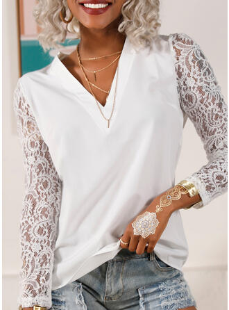 Solid Lace V-Neck Puff Sleeves Long Sleeves Casual Blouses