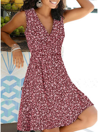 Print/Floral Sleeveless A-line Knee Length Casual/Vacation Dresses