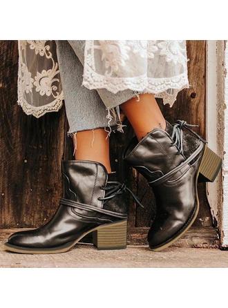Femmes PU Talon bottier Martin bottes avec Dentelle chaussures