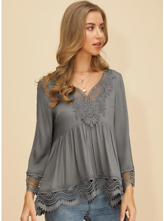 Solid Lace V-neck 3/4 Sleeves Casual Elegant Blouses