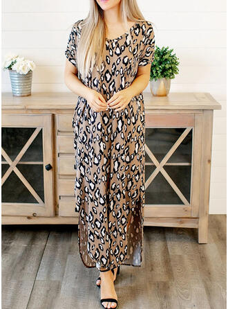 Leopard Short Sleeves Shift Casual Midi Dresses