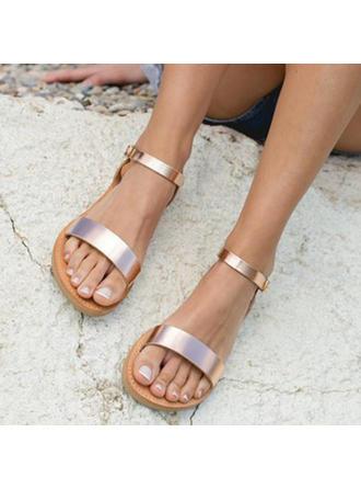 De mujer PU Tacón plano Sandalias Planos Encaje con Hebilla zapatos