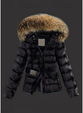 Faux Fur Long Sleeves Plain Jackets