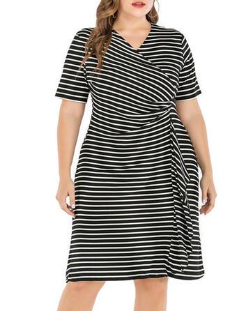Striped Short Sleeves Sheath Knee Length Casual/Plus Size Dresses
