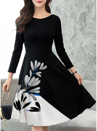 Print Long Sleeves A-line Knee Length Vintage/Casual/Elegant Dresses
