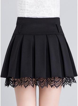 bomullsblandningar Spets Ovanför Knä sexiga kjolar