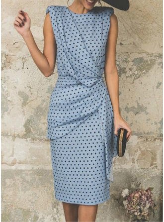 PolkaDot Sleeveless Sheath Midi Party Dresses