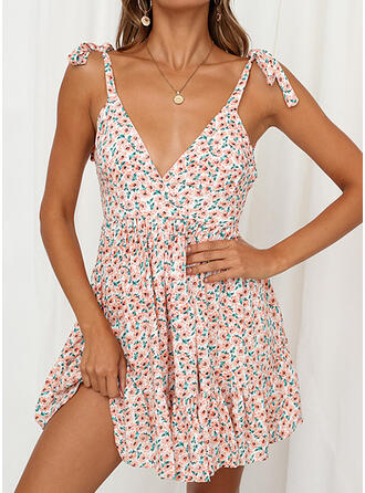 Print/Floral Sleeveless A-line Above Knee Sexy/Casual Dresses