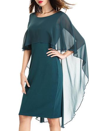 Spandex/Chiffon With Stitching Knee Length Dress