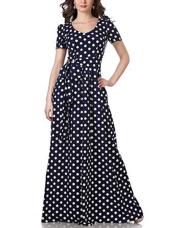PolkaDot U Neck Maxi A-line Dress
