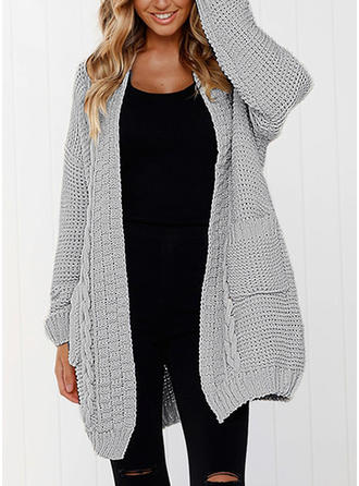 Cotton Long Sleeves Plain Cardigans