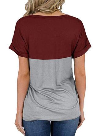 Color Block Leopard V-Neck Short Sleeves Casual T-shirts
