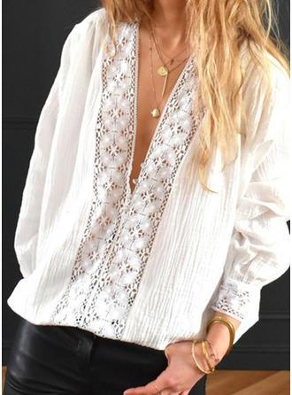 Jednolity Koronka Litera V Długie rękawy Casual Elegancki Bluzki