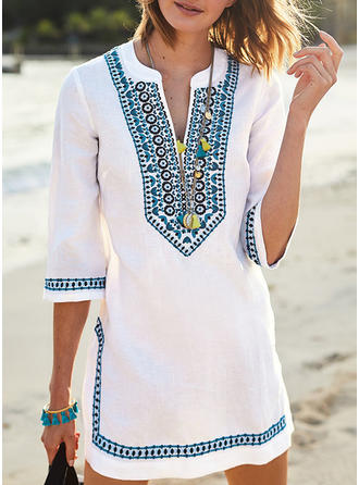 Embroidery 3/4 Sleeves Shift Above Knee Casual/Boho/Vacation Dresses