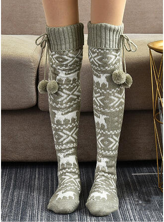 Print/Christmas Reindeer Warm/Women's/Christmas/Knee-High Socks Socks/Stockings
