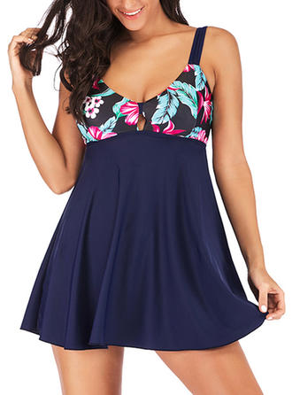Tropical Print Strap Cute Swimdresses Swimsuits