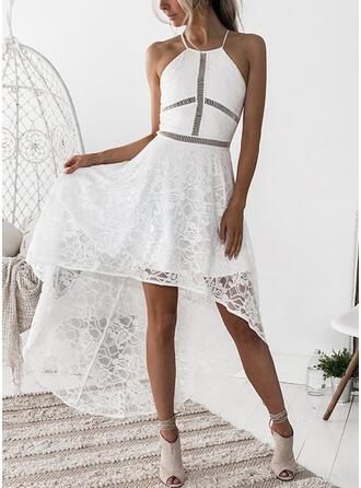 Lace/Solid Sleeveless A-line Asymmetrical Sexy/Party Dresses