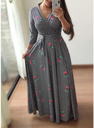 Print/Floral/Plaid Long Sleeves A-line Casual/Plus Size Maxi Dresses