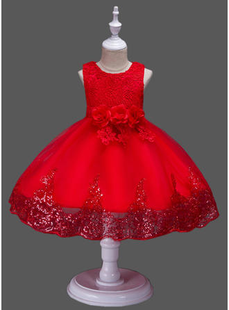Girls Round Neck Solid Floral Lace Cute Party Flower Girl Dress