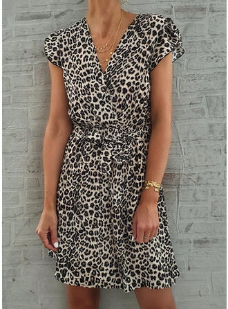 Leopard Cap Sleeve A-line Above Knee Casual/Vacation Dresses