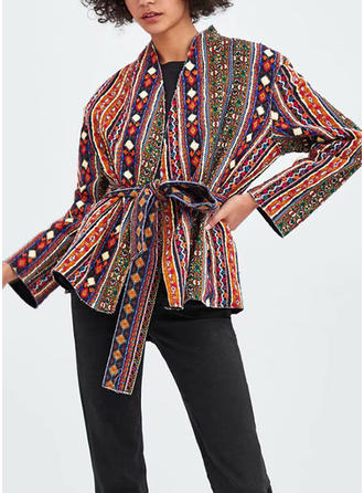 Polyester Long Sleeves Geometric Print Jackets