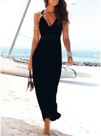 Solid Sleeveless Sheath Little Black/Vacation Maxi Dresses