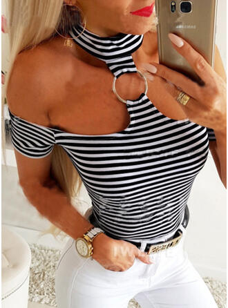 Striped Cold Shoulder Short Sleeves Casual Sexy Blouses