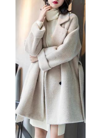 Polyester Manches longues Couleur unie Manteaux en Laine