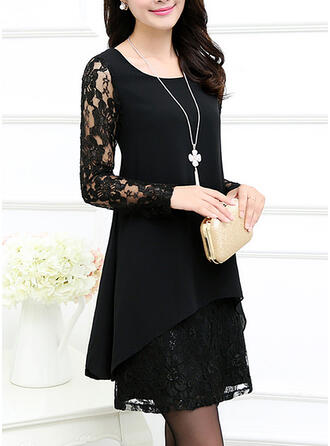 Lace 3/4 Sleeves Shift Above Knee Little Black/Elegant Dresses