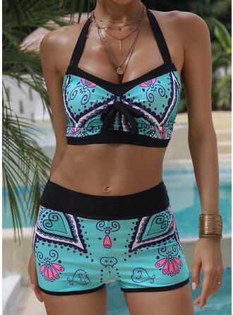Nadruk Wiązany na szyi Seksowny Duży rozmiar Boho Bikini Stroje kąpielowe