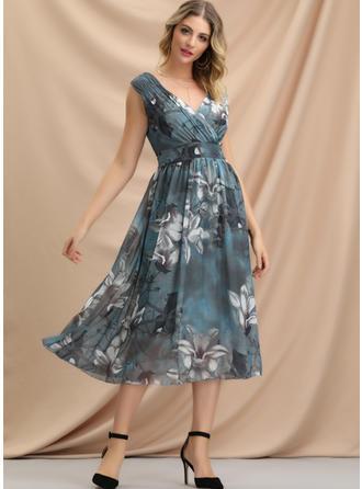Print/Floral Sleeveless A-line Midi Casual/Elegant Dresses