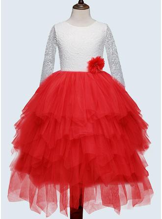 Girls Round Neck Patchwork Vintage Flower Girl Dress