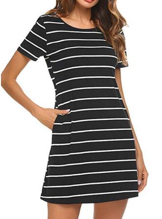Striped Round Neck Above Knee Sheath Dress