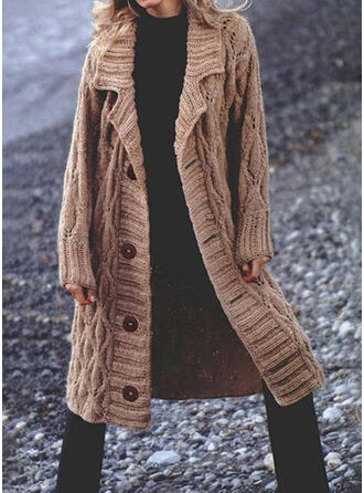Solid Cable-knit Lapel Casual Long Cardigan