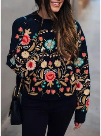 Cotton Round Neck Embroidery Sweater