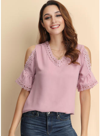 Solid Cold Shoulder Short Sleeves Casual Elegant Blouses