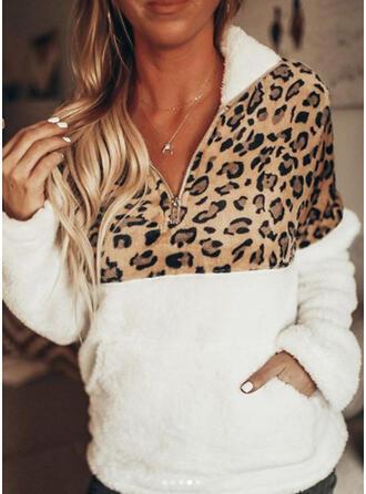 Színblokk Leopard Dlouhé rukávy Kapuce