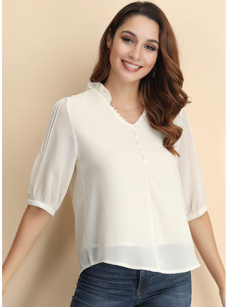 Solid V Neck 1/2 Sleeves Button Up Casual Elegant Blouses