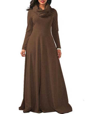 Solid Long Sleeves A-line Maxi Elegant Dresses