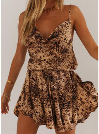 Print/Leopard Sleeveless A-line Above Knee Sexy/Party Dresses