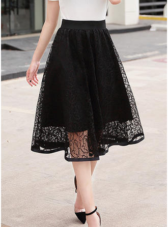 Polyester Plain Lace Mid-Calf A-Line Skirts
