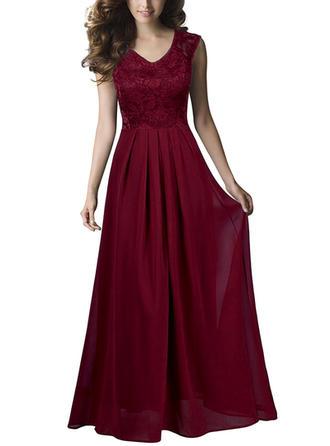Chiffon With Solid Maxi Dress