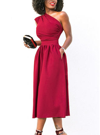 Solid One-Shoulder Midi A-line Dress