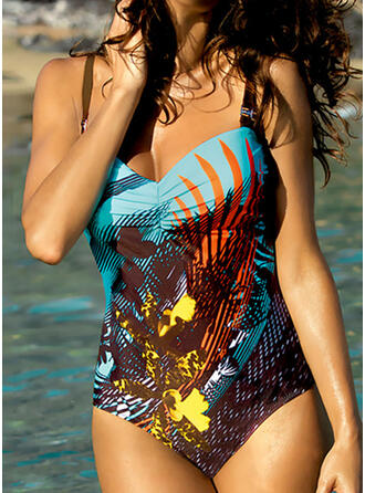Print Push Up Strap V-Neck Bohemian Attractive One-piece Swimsuits
