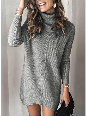 Solid Ribbed Chunky knit Turtleneck Sweater Dress